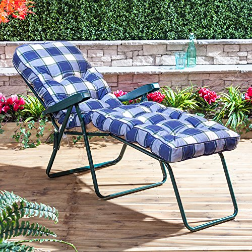 Alfresia Sun Lounger - Green Frame with Classic Blue Check Cushion