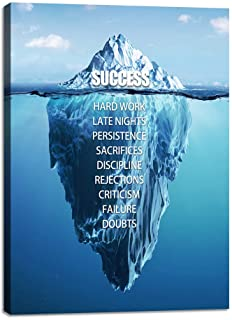 Success Wall Art for Office Motivational Entrepreneur Quotes Canvas Painting Iceberg..