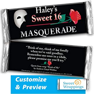 Personalized Candy Bar Wrappers   Sweet Sixteen, Gift, Birthday   Masquerade Birthday   Party Favor, Personalized, Custom   (36 Wrapper Kit), Fits Hershey's 1.55oz Chocolate Candy