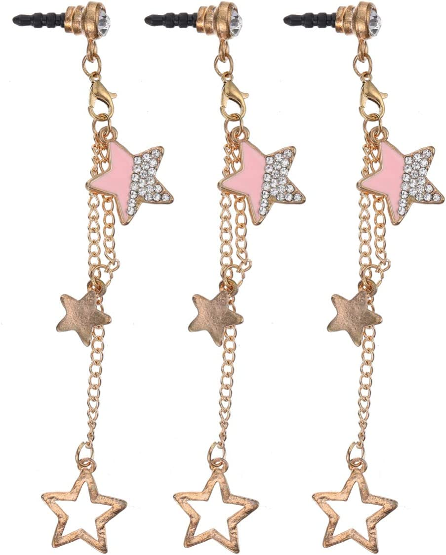 UKCOCO 3Pcs Cell Max 47% OFF Phone famous Dust Five-Pointed Pendant Plug Star