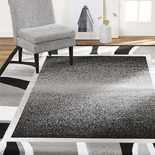 Home Dynamix Lyndhurst Rotana Modern Area Rug, Contemporary Black/Gray 5'2'x7'4'