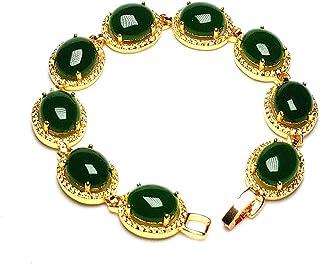 yigedan Womens 18KGP Gold Plated Egg-Shaped Green Jade Natural Stone Bracelet (Gold)