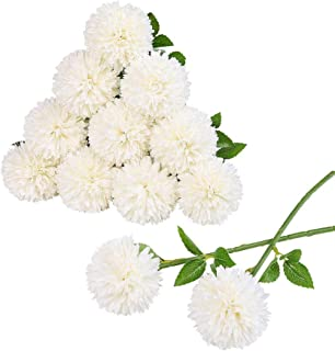 Tifuly 12 pcs Artificial Chrysanthemum Ball Flowers Bouquets for Bride Single Stem Plastic Hydrangea Silk Flowers for Wedding Bouquets Centerpieces Arrangements Party Home Garden Decor(White)