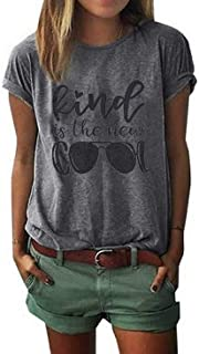 Kind is The New Cool Shirt Kindness T Shirt Women Graphic Funny Inspirational Tee Short Sleeve Christian Tee Tops