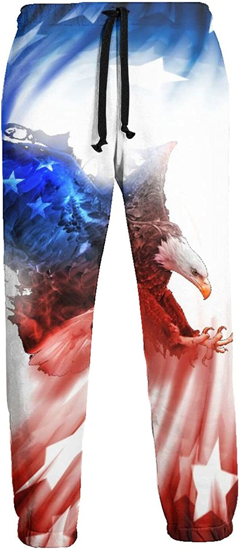 Men's Jogger Sweatpants American Flag Eagle Red Blue Star 3D Loose Joggers Pants with Drawstring Long Pants