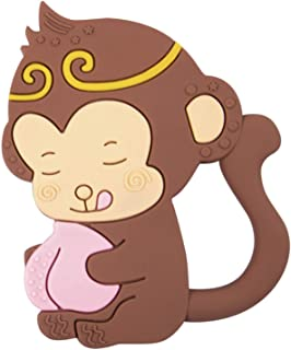 Nearbyme Baby Teething Toys, BPA Free Silicone Monkey King Shape Teether with Relief Beads Binky Holder and Pacifier Clips for Toddlers & Infant (Brown)