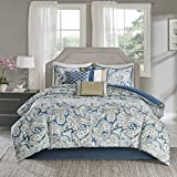 Madison Park Gabby Queen Size Bed Comforter Set Bed in A Bag - Blue, Paisley – 7 Pieces Bedding Sets – 100% Cotton Sateen Bedroom Comforters, Queen(90'x90') (MP10-3311)