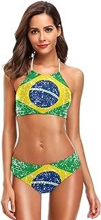 Brazil Flag Women's Sexy Bikini Swimsuit Set Halter Bathing Suit Swimwear Beachwear