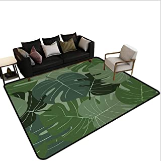 Forest Greenchair mats for Carpeted Floors Camouflage Pattern of Palm Leaves Tropical Nature Themed Foliage Kitchen Rug Area Sage Green Pale Green 4'x6'