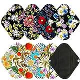 7pcs Pack Cloth Pads Including 1pc Mini Wet Bag +6pcs 8 Inch Bamboo Charcoal Cloth Menstrual Pads/Reusable Sanitary Pads/Mama Panty Liners