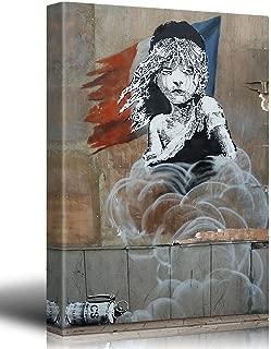 Family Decor Canvas Print - Les Miserables - Banksy Street Art - Graffiti - Calais Refugee Tear Gas Political Statement - French Flag - Canvas Wrap 12