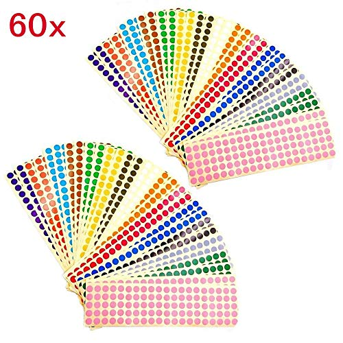 JZK 60 Blatt 10mm bunt rund Punkt Aufkleber 15 Farben Klebeetiketten kleine farbig Dots Etiketten selbstklebend Klebepunkte