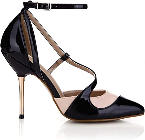 Sexy Pointed Toe Summer Metal Thin High Heels Pumps Fashion Patent Leather Patchwork Ladies Gladiator Buckle Sandals damen schuhe schwarz and Nude 5