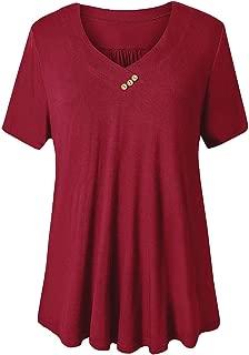 FOLUNSI Women's Plus Size Short Sleeve V Neck Swing Floral Tunic Tops M-4XL