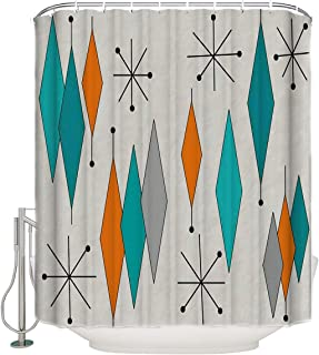Libaoge Bathroom Decor Shower Curtains Set - Mid-Century Modern Diamond Pattern Waterproof Polyester Fabrics Art Print Comstomized Design - Come with Hooks 72