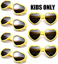 Neon Colors Party Favor Supplies Wholesale Heart Sunglasses for Kids (7 Pack Yellow)