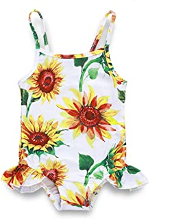 Divilon Newborn Infant Baby Girl Swimsuit Sunflower Swimwear Suspender Ruffle One Piece Bikini Bathing Suit