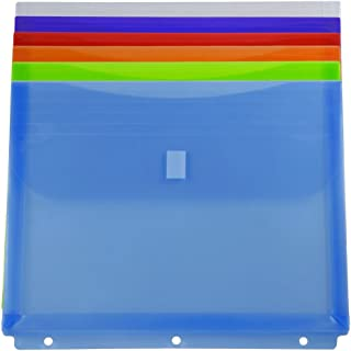 JAM PAPER Plastic 3 Hole Punch Binder Envelopes with Hook & Loop - Letter Booklet - 9 1/2 x 11 1/2 with 1 Inch Expansion - Assorted Colors - 6/Pack