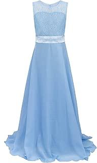 Long Junior Bridesmaid Dress Big Girls Elegant Formal Flower Chiffon Maxi Dress Wedding Party Dance Ball Gown