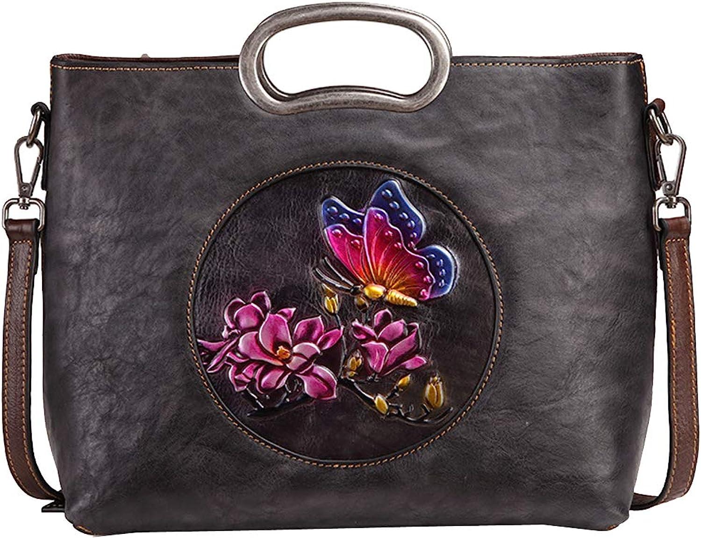 Genuine Leather Tote Bag Handbag Shoulder Bag School Bag with Removable Strap