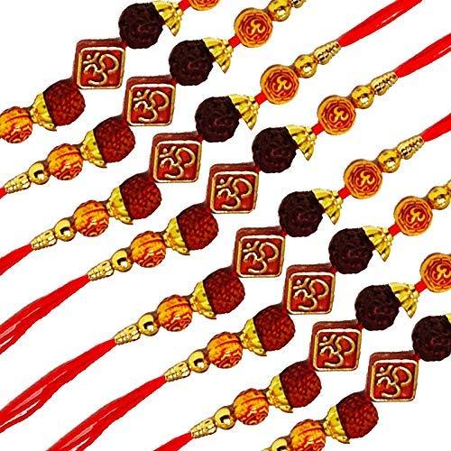 SataanReaper Presents Gold Überzogen Perlen Designer Raksha Bandhan Geschenk Band Moli Armband Gott Für Brother/Bhaiya Mit Roli Tilak-Pack (Set Von 8) #Sr-3232