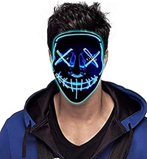 Halloween Mask LED Purge Mask Light Up Masquerade Festival Parties El Wire Cosplay Glowing Scary Mask