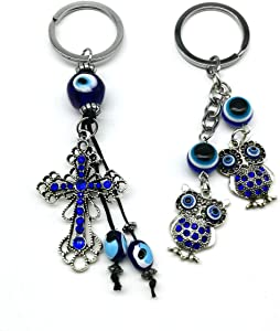Blue Evil Eye Keychain Hanging Car Rear View Mirror Home Matching Accessories Decoration Amulet Decor Pendant for Good Luck and Protection