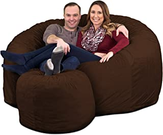 ULTIMATE SACK Bean Bag Chair w/Foot Stool in Multiple Sizes and Colors: Giant Foam-Filled Furniture - Machine Washable Covers, Double Stitched Seams, Durable Inner Liner. (Brown Suede, 6000)