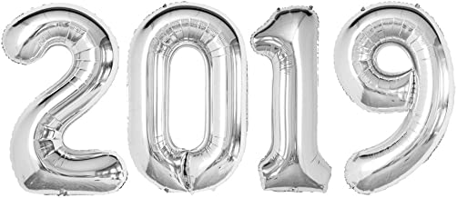 GOER 42 Inch Silver 2019 Number Foil Balloons,2019 Graduation Decorations New Year Eve Festival Party Supplies