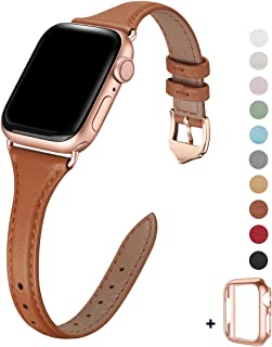 WFEAGL Leather Bands Compatible with Apple Watch 42mm 44mm,Top Grain Leather Band Slim & Thin Wristband for iWatch Series 5 & Series 4/3/2/1(Brown Band+Rose Gold Adapter,42mm 44mm Small & Middle Size)