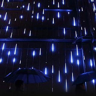 W·Z LED Meteor Shower Rain Lights,Drop/Icicle Snow Falling Raindrop 30cm 8 Tubes Waterproof Cascading Lights for Wedding Xmas Home Decor (Blue)