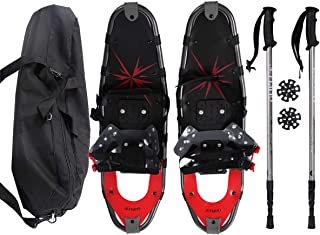 Goplus Snowshoes All Terrain Sports 27'' with Anti-Shock Adjustable Poles & Carrying Bag for Adults Snow Shoes, Red