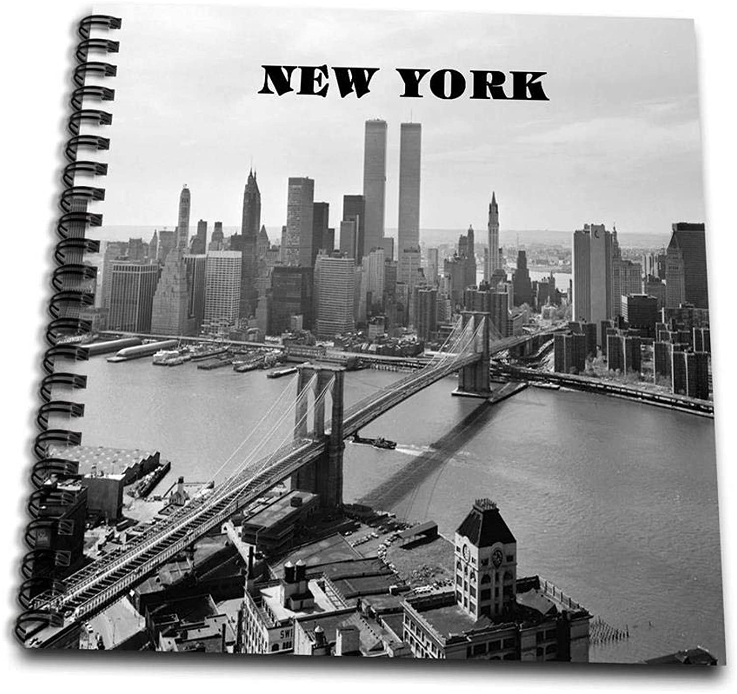 3dpink db_80338_1 Black N White Picture of 1972 Brookly Bridge with Twin Towers Drawing Book, 8 by 8