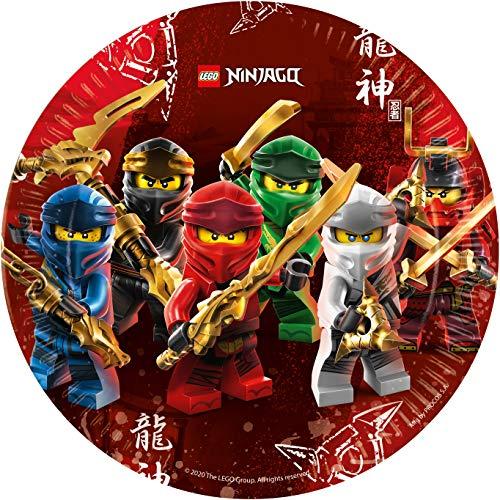 Procos 92239 - Partyteller Lego Ninjago, 8 Stück, Durchmesser 23 cm, Pappteller, Teller, Einweggeschirr, Tischdekoration, Party, Geburtstag