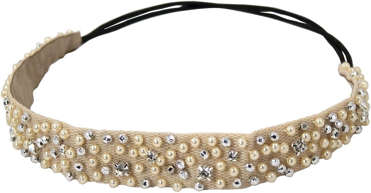Dahlia Women's Elastic Headband - Dazzling Rhinestone Faux Pearl Bead - Cream