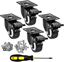 """CLOATFET Caster Wheels, 2"""" Casters with Brake, No Noise Swivel Casters with Set of 4, Polyurethane (PU) Wheels with Lockin..."""