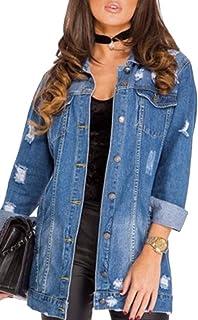 WSPLYSPJY Women's Oversized Denim Jacket Ripped Jean Boyfriend Long Sleeve Coats Denim