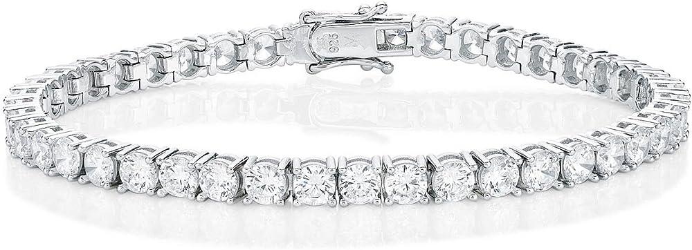 Diamond treats bracciale tennis da donna argento massiccio 925, con zirconi bianchi super brillanti