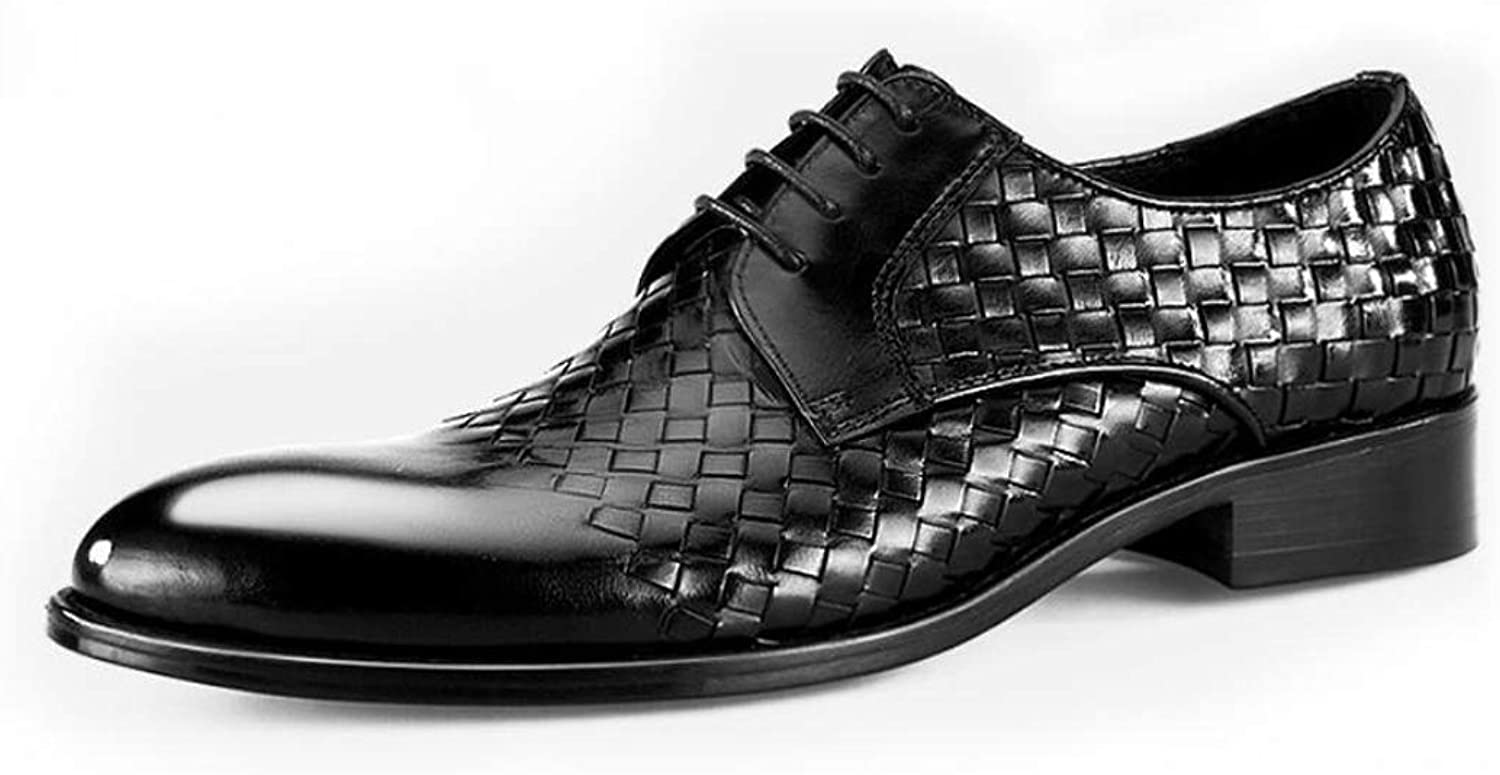 JINLINE Men's Leather shoes Woven Handmade Business Casual British Style Dress Upper Layer Leather Men's shoes Men's Leather Boots (color   Black, Size   44 EU)