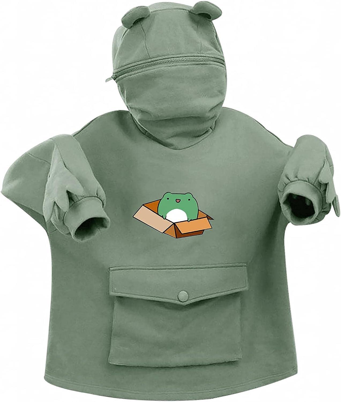 Masbird Hoodies for Women, Womens Hoodies Long Sleeve Fashion Fall Sweaters Anime Casual Cute Vintage Frog Hoodie