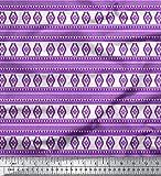 Soimoi Lila Seide Stoff aztekisch geometrisch Drucken Nahen