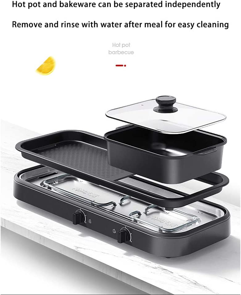 JCJ-Shop 2200w Barbecue éLectrique Multifonction 2 en 1 Hot Pot, avec PoêLe AntiadhéSive Et ContrôLe De TempéRature IndéPendant, pour Le DîNer à La Maison, Noir White
