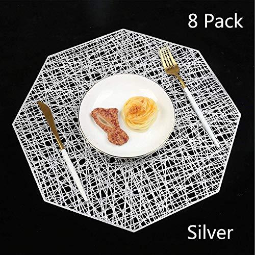 Homcomodar Tischsets Abwaschbar Silber 8er Platzsets Hitzebeständig Platzdeckchen