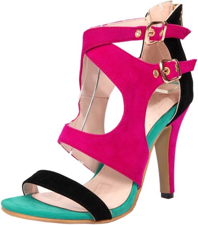 TAOFFEN Women Western Fashion High Heel Buckle Strap Zipper Sandals