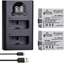 LP-E5, Pickle Power (x2) 1500mAh 7.4V Battery Pack and Rapid Smart LED Dual USB Charger Compatible with Canon 1000D, 500D, 450D Kiss F, Kiss X2, Kiss X3, Rebel XS, Rebel XSi, Rebel T1i Digital Camera