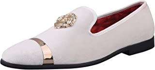 ELANROMAN Mens Loafers Velvet Dress Shoes with Gold Plate Smoking Slippers Slip on Penny Party Luxury Loafer Shoes for Men 10 Color