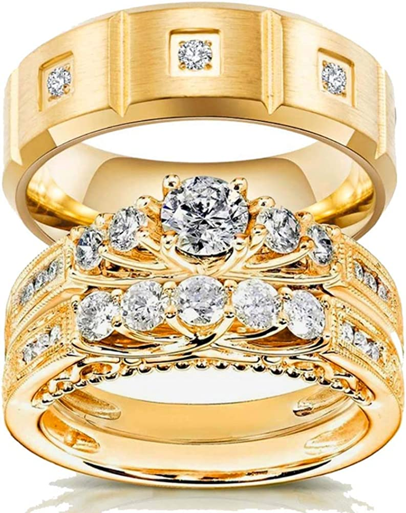Free shipping on posting reviews Two Rings Max 84% OFF His and Hers Couple 3pc Bridal Women Set Ring