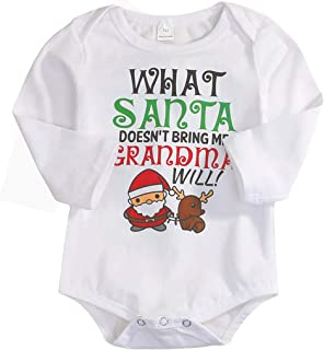 Happy Town Unisex Baby Boys Girls My First Christmas Santa Claus Long Sleeve Bodysuit Romper Outfits