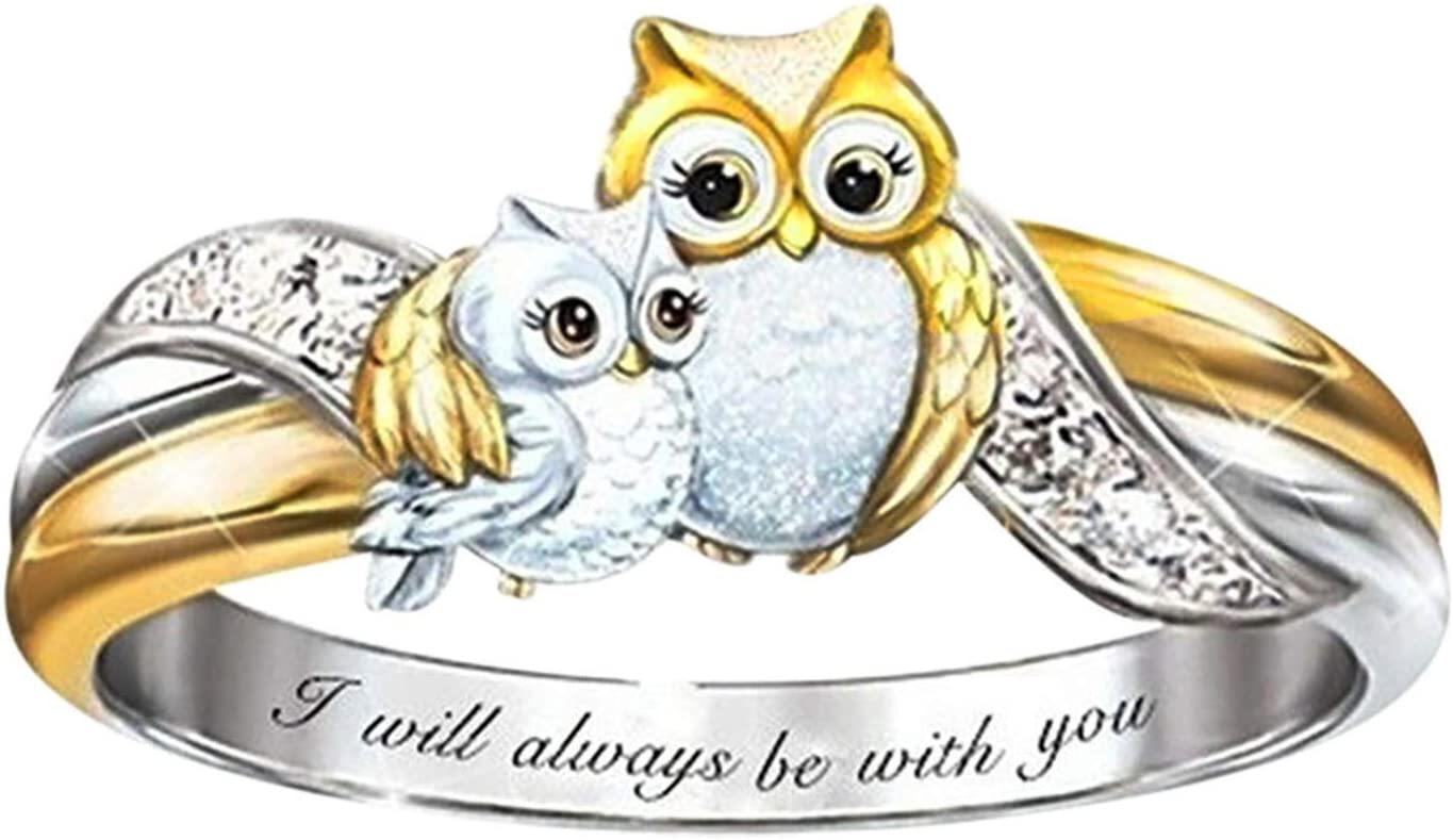 Women's Rings - Creative Fashion Bear Ring Elephant Ring Owl Ring Cat Ring Dolphin Ring Flowers Ring Crystal Love Ring - Women Wedding Ring Female Diamond Ring Jewelry Mother's Day Birthday Gifts