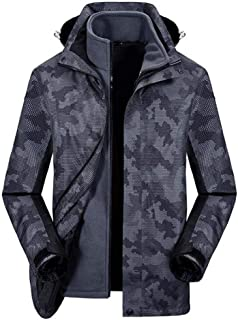 HMJZLyy Men's autumn and winter outdoor jackets can be detached fleece winter clothes breathable warm hiking jacket